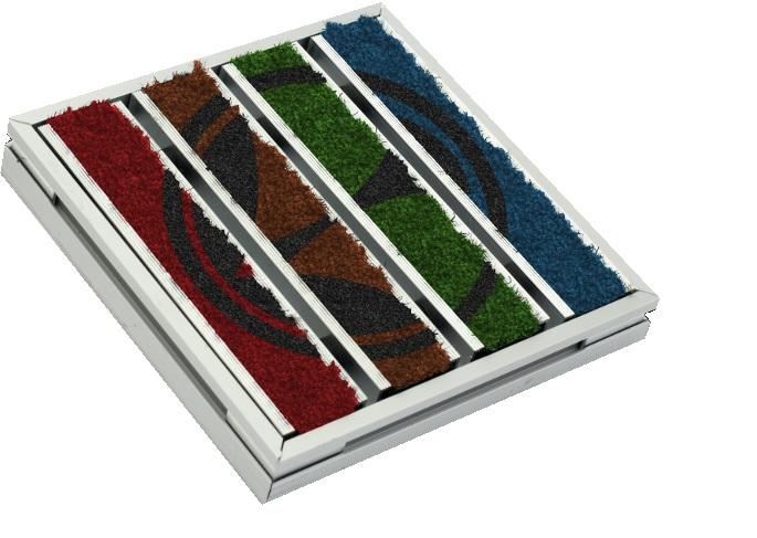 Mattensystem mit bedruckten Textilien